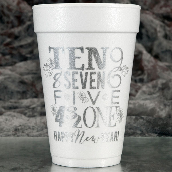 New Year's Foam Cups & Napkins