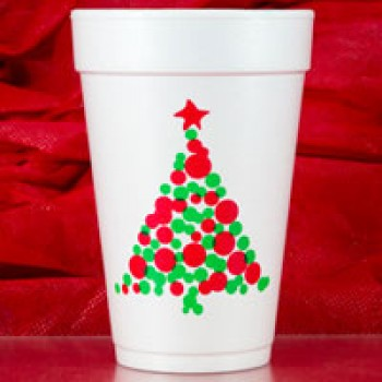 Christmas Cups Styrofoam 16oz Pre-printed | (Christmas Tree Dots (Red/Green Print) | FCC168