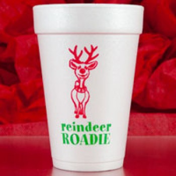 Christmas Cups Styrofoam 16oz Pre-printed | Reindeer Roadie (Red/Green Print) | FCC133