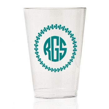monogrammed clear plastic cup | Signature Collection monogram {leaf 3}