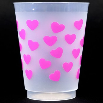CPS603 hearts hot pink pre-printed frost flex