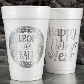new years eve drop the ball styrofoam cups 16oz pre-printed