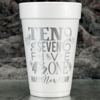 new years eve countdown styrofoam cups 16oz pre-printed