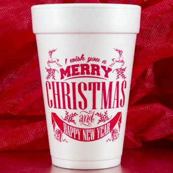 christmas styrofoam cups merry christmas happy new year 16oz pre-printed FCC165