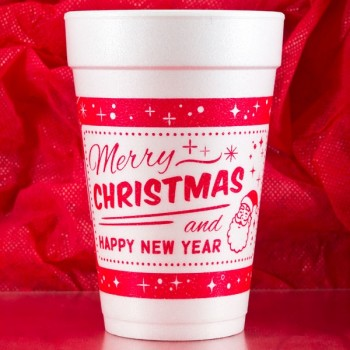 Christmas Cups Styrofoam 16oz Pre-printed | Merry & Happy (Red Ink) | FCC172