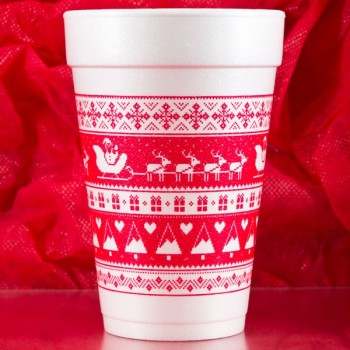 Christmas Cups Styrofoam 16oz Pre-printed | Sleigh Sampler (Red Ink) | FCC173