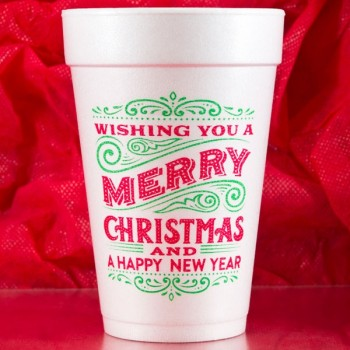 Christmas Cups Styrofoam 16oz Pre-printed | Wishing (BlackRed/Green Ink) | FCC174