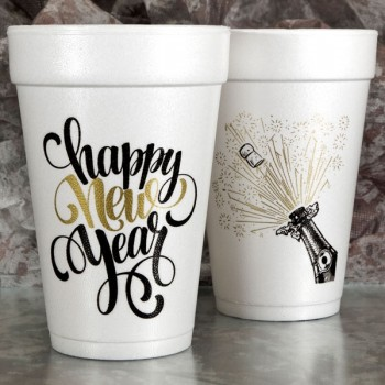 New Year's Cups Styrofoam 16oz Pre-printed | Bubbly (Black/Gold Print) | FCC177