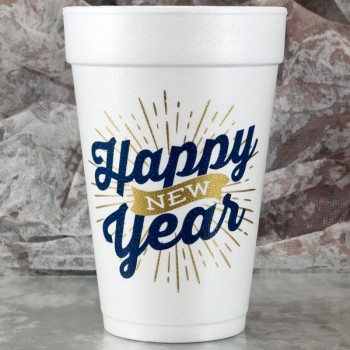 New Year's Cups Styrofoam 16oz Pre-printed | Happy Banner (Blue/Gold Print) | FCC178