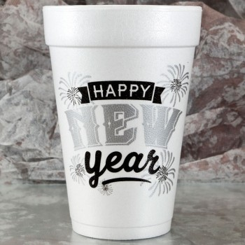 New Year's Cups Styrofoam 16oz Pre-printed | New Year Fireworks (Black/Silver Print) | FCC179