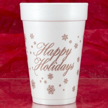 Christmas Cups Styrofoam 16oz Pre-printed | Happy Holidays (Rose Gold Print) | FCC180