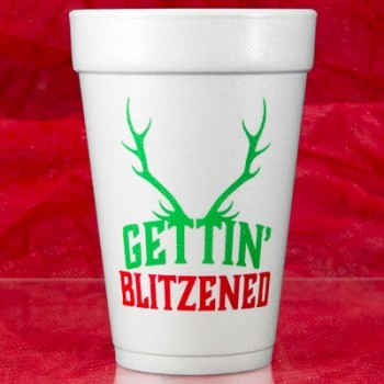 Christmas Cups Styrofoam 16oz Pre-printed | Blitzened (BlackRed/Green Ink) | FCC182