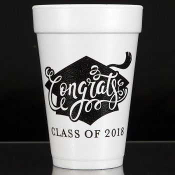 Graduation styrofoam cups {congrats} | 16oz foam pre-printed | Cup of Arms | FCG003