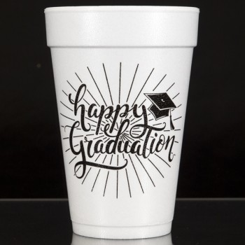 Graduation styrofoam cups {Happy} | 16oz foam pre-printed | Cup of Arms | FCG005