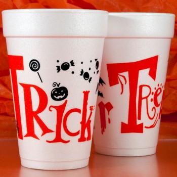Halloween Cups Styrofoam 16oz Pre-printed | Trick or Treat (Black/Orange Ink) | FCH19