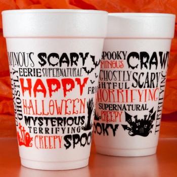 Halloween Cups Styrofoam | Halloween Scattered Text 16oz | Black/Orange 2-COLOR Print | FCH23