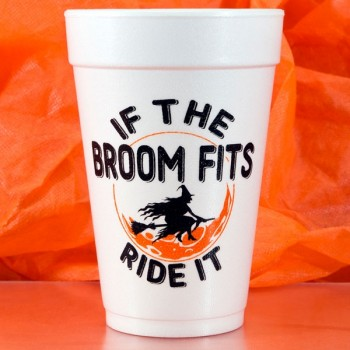 Halloween Cups Styrofoam 16oz Pre-printed | Broom (Black/Orange Ink) | FCH29