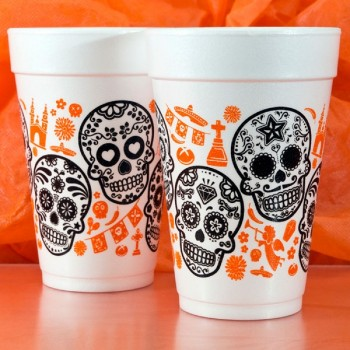 Halloween Cups Styrofoam 16oz Pre-printed | Skulls (Black/Orange Ink) | FCH30