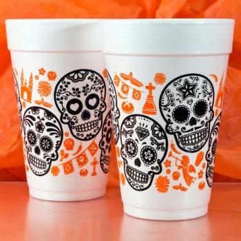 Halloween Cups Styrofoam 16oz Pre-printed | Skulls (Black/Orange Ink) | FCH30