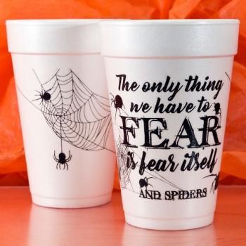 Halloween Cups Styrofoam 16oz Pre-printed | Fear (Black) | FCH31