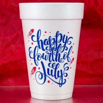 July 4th Cups Styrofoam 16oz Pre-printed | Happy 4th (Red/Blue Print) | FCID001