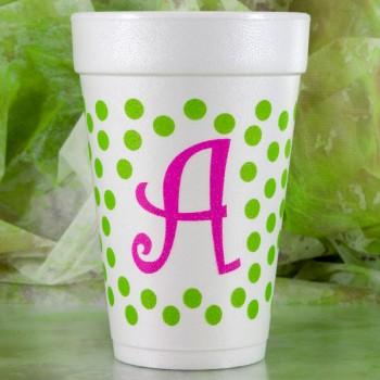 styrofoam cup initial dots 16oz