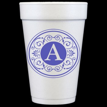 pre-printed styrofoam cups tuscany initials 16oz