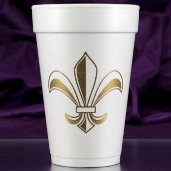 mardi gras styrofoam cups {fleur de lis 16oz pre-printed CupOfArms FCM103