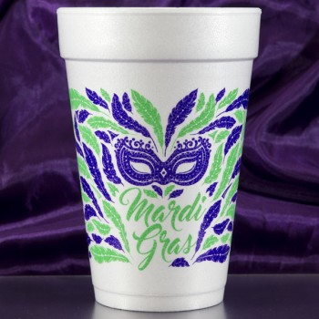 mardi gras styrofoam cups {mardi gras mask} 16oz pre-printed CupOfArms FCM119