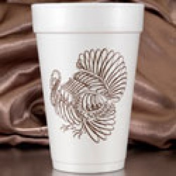 thanksgiving turkey styrofoam cups 16oz pre-printed