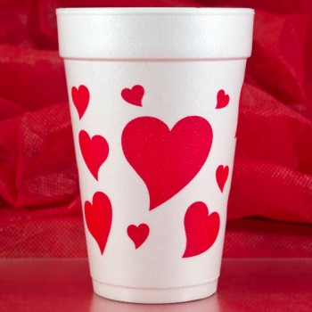 valentine's day styrofoam cups {hearts} 16oz pre-printed Cup Of Arms FCV114