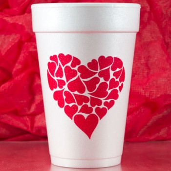 valentine's day styrofoam cups {heart of hearts} 16oz pre-printed CupOfArms FCV117