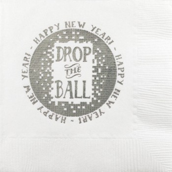 New Year's Beverage Napkins | Drop the Ball | White napkin Silver Print | GBC47