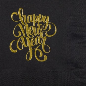 New Year's Beverage Napkins | Happy New Year | Black napkin Gold Print | GBC56