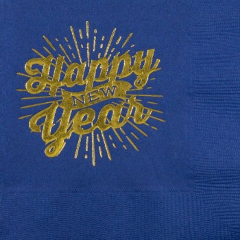 New Year's Beverage Napkins | Happy Banner | Blue napkin Gold Print | GBC57