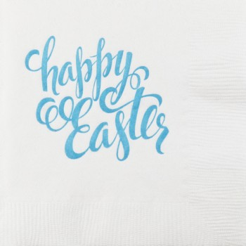 easter napkins white 3-ply {easter script}  | pre-printed | GBE012