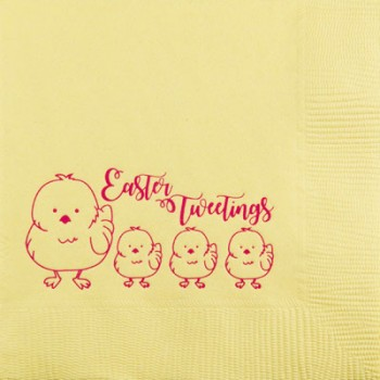 easter napkins yellow 3-ply {tweetings} | pre-printed | GBE013