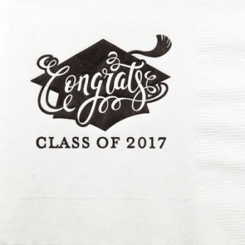 graduation napkins {congrats} beverage / cocktail pre-printed CupOfArms GBG001