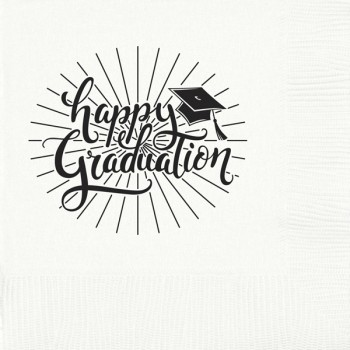 Graduation napkins {happy} | beverage / cocktail pre-printed | Cup of Arms GBG005