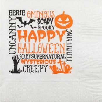 Halloween Beverage Napkins | Scattered Halloween Text | White napkin Orange/Black GBH120