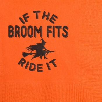 Halloween Beverage Napkins | Broom| Orange napkin Black print | GBH125