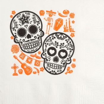 Halloween Beverage Napkins | Skulls | White napkin Orange/Black Print | GBH126