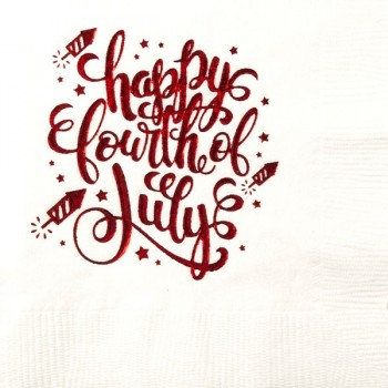 July 4th Beverage Napkins | Happy 4th | White napkin Red Print | GBID001