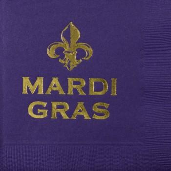 mardi gras napkins {fleur mardi gras} beverage / cocktail pre-printed CupOfArms GBM14