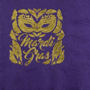 mardi gras napkins {mardi gras mask} beverage / cocktail pre-printed CupOfArms GBM16