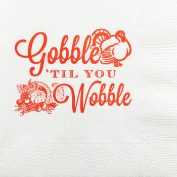 thanksgiving gobble til you wobble pre-printed beverage napkins