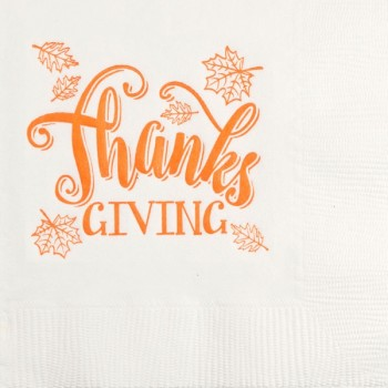 Thanksgiving / Fall Beverage Napkins | Thanks | White napkin Orange Print | GBT009