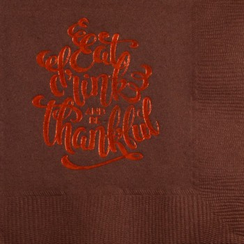 Thanksgiving / Fall Beverage Napkins | Eat | Brown napkin Orange Print | GBT011
