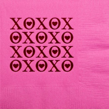 valentine's day napkins {XOXO} beverage / cocktail pre-printed CupOfArms GBV12