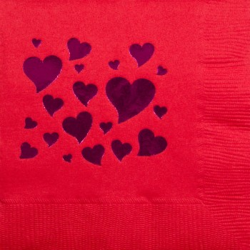 valentine's day napkins {hearts} pre-printed beverage / cocktail CupOfArms GBV13